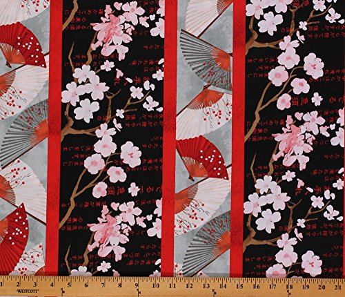 Cotton Hanami Falls Fans Cherry Blossoms Oriental Stripe Fabric Print by Yard Q1639-64766-993