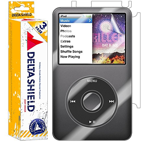 DeltaShield Full Body Skin for Apple iPod Classic 80GB (3-Pack)(Screen Protector Included) Front and Back Protector BodyArmor Non-Bubble Military-Grade Clear HD Film