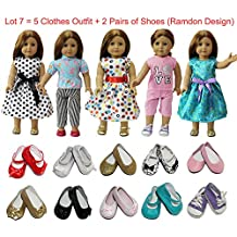 ZITA ELEMENT Doll Clothes- Lot 7 Daily Costumes Gown Clothes+Shoes fit for American's Girl Doll and other 18 inches XMAS GIFT- Ramdon Style
