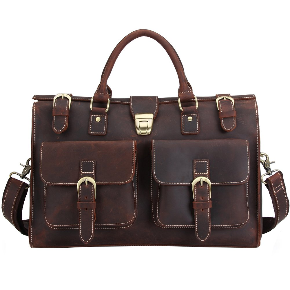 Berchirly Large Leather Laptop Briefcase Messenger Shoulder Bag Red Brown