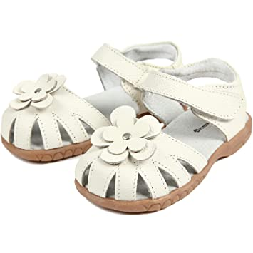 030f281c4224d 【Dream Studio】Girls Genuine Leather Solid Flower Sandals (11 M US Little  Kid, White)