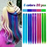 20 Pieces Party Highlights Clip in Colored Hair Extensions Colorful Hair Extensions 20 inches Straight Synthetic Hairpieces(Blue,Dark blue,Grass green,Purple,Rose red)