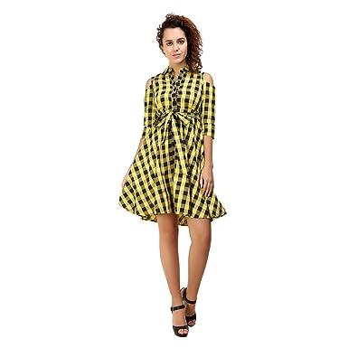 33983feec3c Yellow   Black Checks Cold Shoulder Womens Dress By Twenty Whites ...