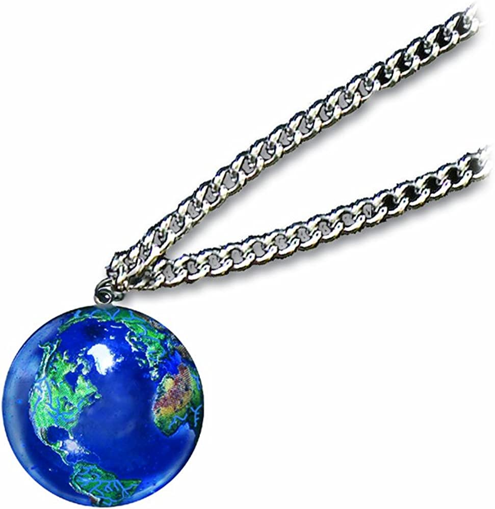 Pendant, Blue Earth Marble, Natural Earth Continents, Endless Stainless Steel Chain, 1 (22mm) Inch Diameter
