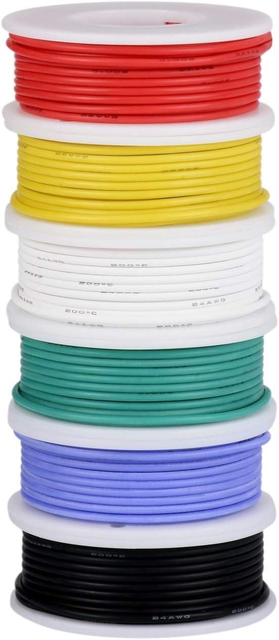 Cable eléctrico de 26 AWG, cable de conexión de alambre flexible de silicona (6 bobinas de 10 metros de diferente color) Resistencia a altas temperaturas de cables trenzados de 300V