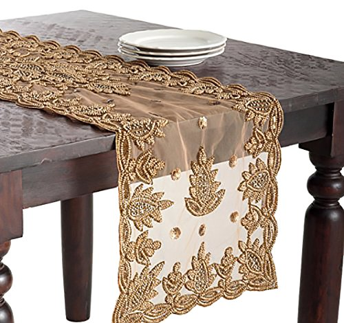 (Occasion Gallery Gold Color Hand Beaded Design Sheer Runner, 16
