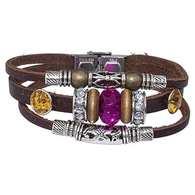 design intemporel dernier vente en magasin Soleebee rétro PU bracelet en cuir avec dos en pointe et en ...