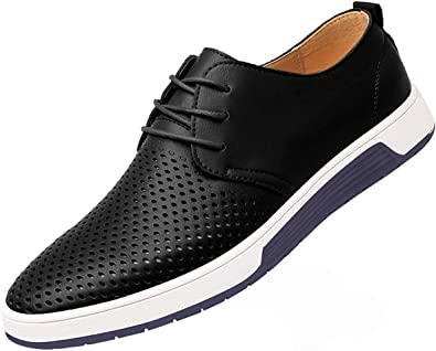 Mens Lace Up Oxford Dress Formal Sneakers British Casual Breath Hollow Out Shoes