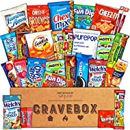 CraveBox - Care Package (30 Count) Snack Box – Variety Assortment with Chips, Cookies and Candy – Gift Box with Sweet and Salty Treats for Lunches, College Students and Office Parties