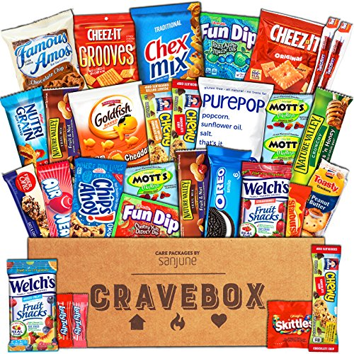 Snack Care Gift (CraveBox - Care Package (30 Count) Snack Box – Variety Assortment with Chips, Cookies and Candy – Gift Box with Sweet and Salty Treats for Lunches, College Students and Office Parties)