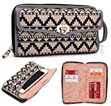 NuVur Aztec Print Universal Wallet Wristlet Clutch ::Smart Phone:: Case Fits Alcatel One Touch Fierce 2, Pop Icon, Pop S7|Beige-Multi