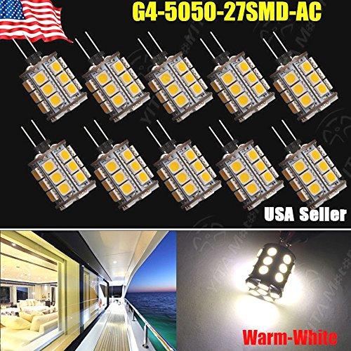 10X Warm White 3500K G4 12V AC/DC 5050 27SMD Car Cabinet RV Boat Home Light Bulb