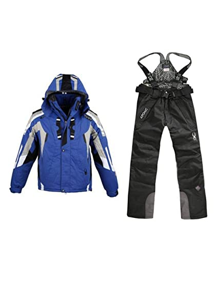 CHIGANT Traje de Esquí Hombre Chaqueta de Esquí con Capucha Impermeable Pantalón de Esquí para Hombre