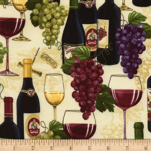 Timeless Treasures 0561326 Wine Bottles & Grapes Sand Fabric by The Yard