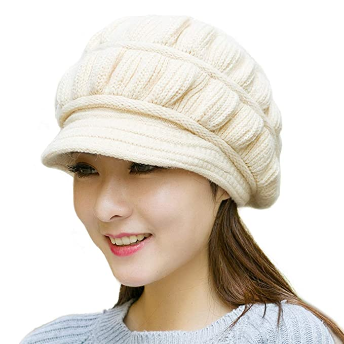 c1d13c143 Muryobao Women's Winter Warm Hat Crochet Slouchy Beanie Knitted Caps Visor