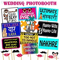 Party Propz Wedding Photo Booth Set of 18 Pieces   Mehandi Props   Sangeet Props   Wedding Photo Booth Props   Photo Booth Props Wedding
