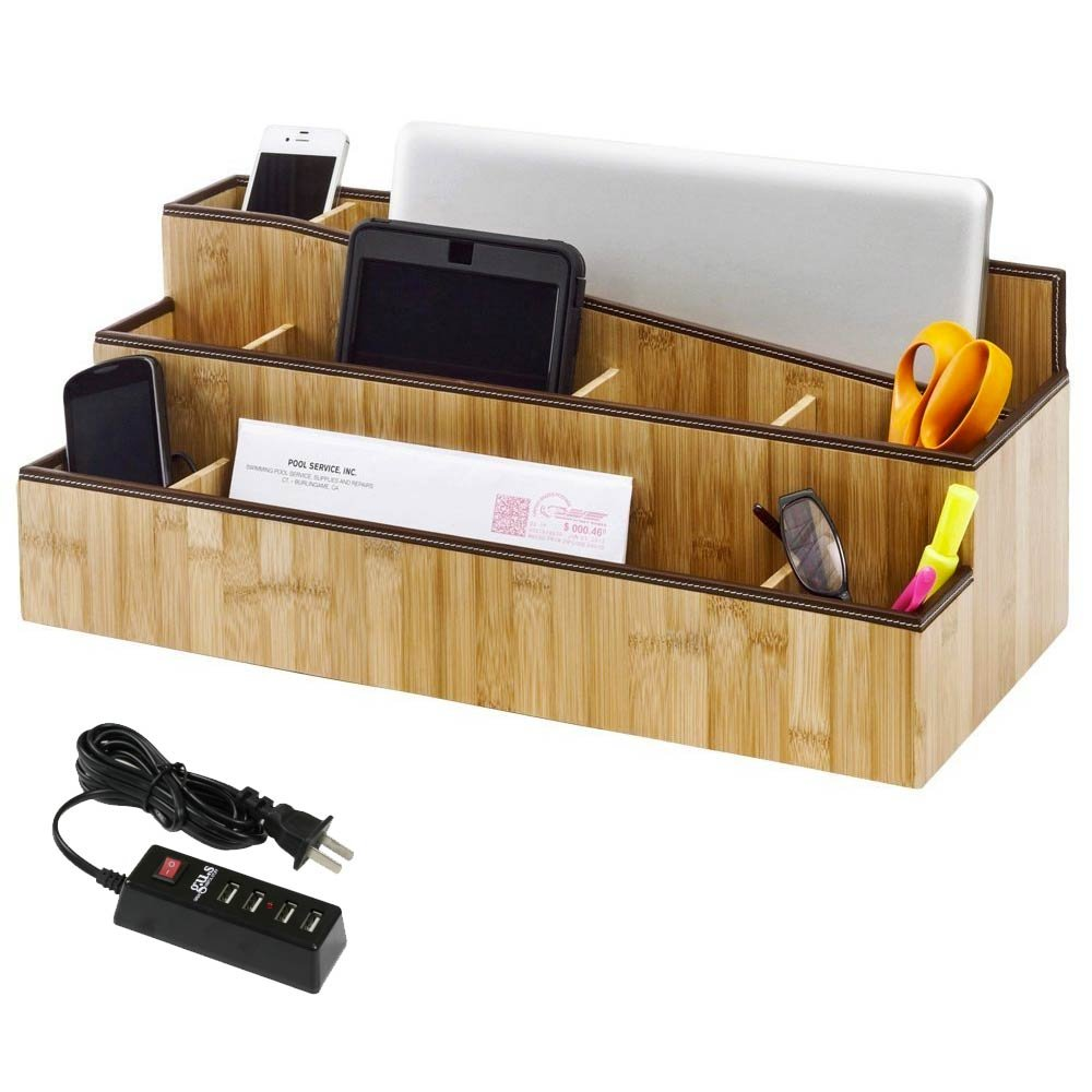 G.U.S. One Stop Workspace Desktop Storage Organizer and Charging Station Combo for iPhones, Galaxy, Macbook, PC, iPad, and Kindle. With 4-Port USB Power Strip