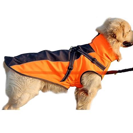 JoyDaog - Chaqueta elástica de poliéster cálida con forro polar para perros de tamaño mediano a