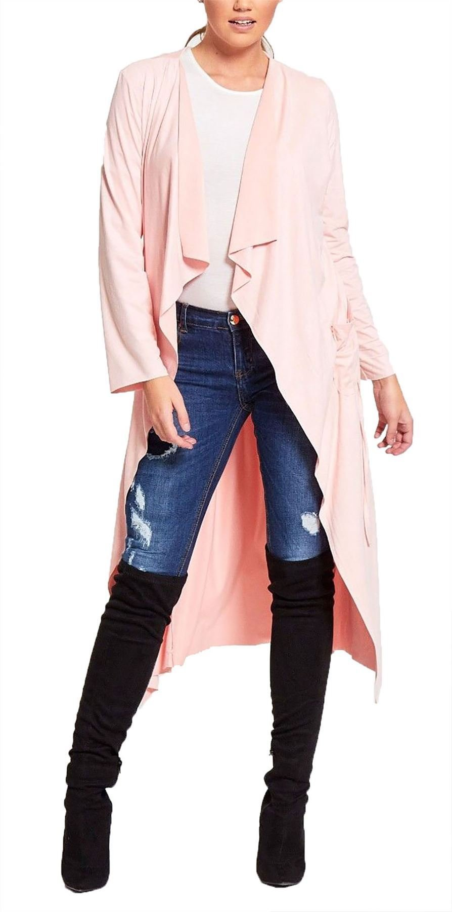Ladies Waterfall Suede Cardigan Womens Modest Belted Draped Open Longline Jacket#(Baby Pink Suede Cardigan#US 6-8#Womens)