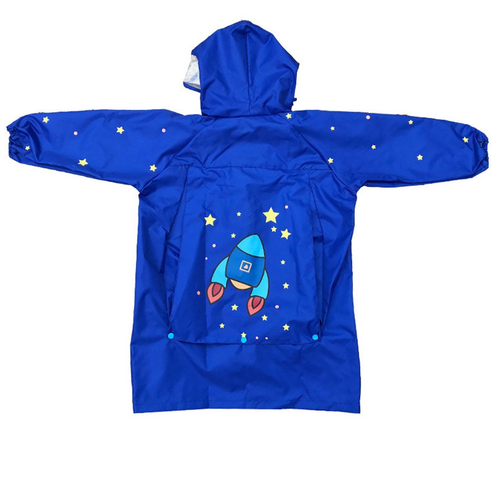 WYTbaby Kids Raincoats, Boys Girls Hooded Rain Poncho with School Bag Position,Blue by WYTbaby (Image #2)