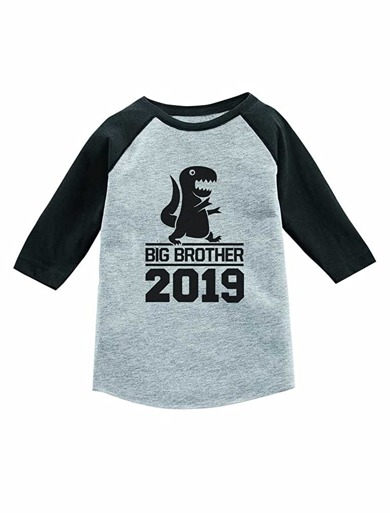 ccc57d24bbb Amazon.com  Gift for Big Brother 2019 T-Rex Boy 3 4 Sleeve Baseball Jersey Toddler  Shirt  Clothing