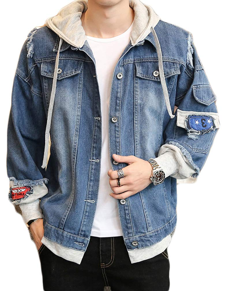 Lavnis Men's Denim Hooded Jacket Casual Button Down Ripped Jeans Jacket Coat Outwear Dark Blue S by Lavnis