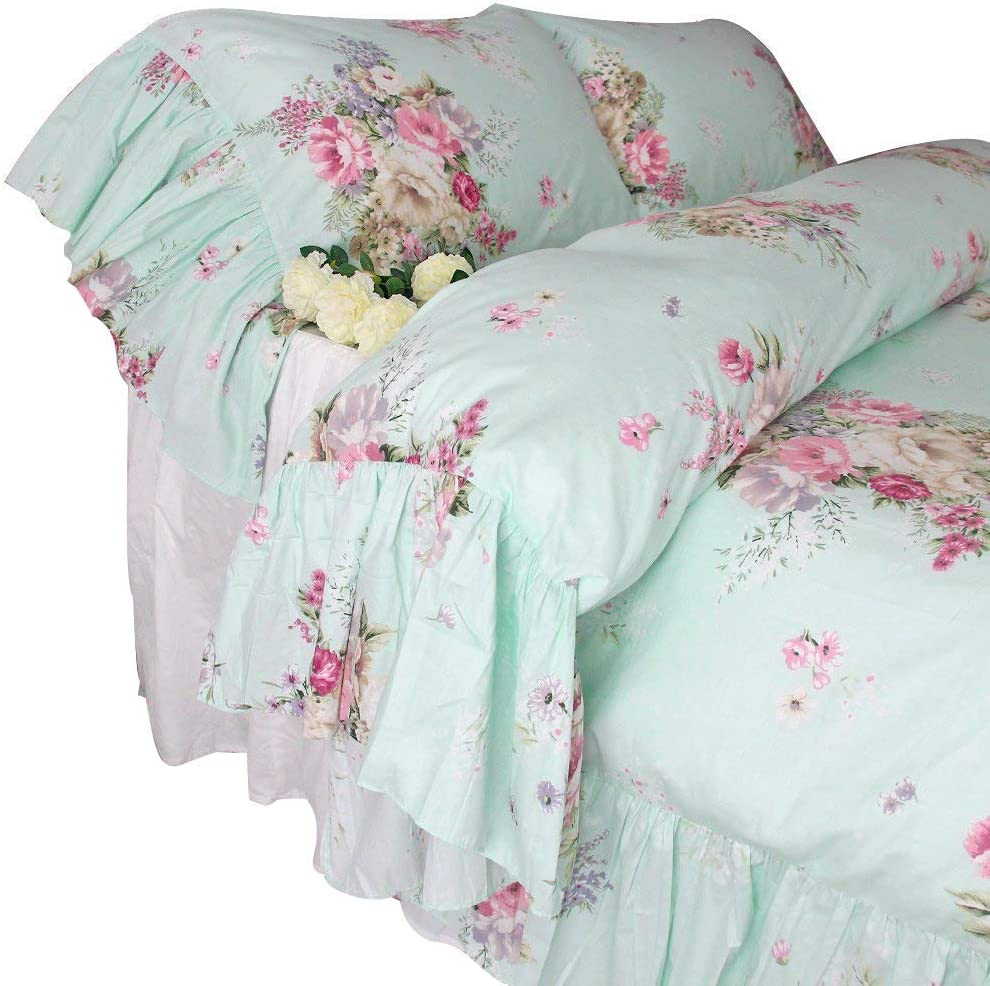 Queen's House Shabby Green Bedding Duvet Cover Queen Set