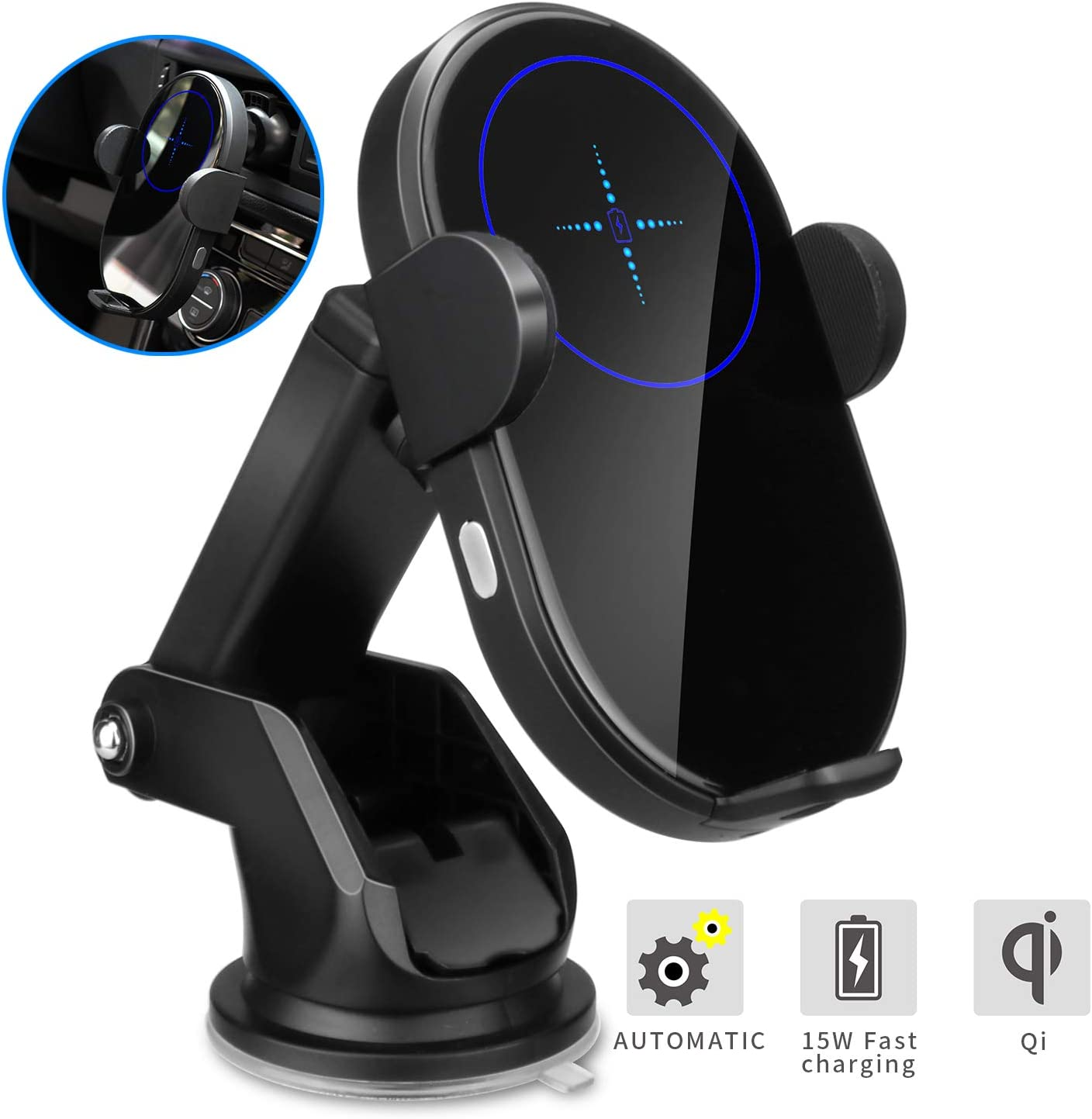LIEBMAYA Wireless Car Charger,15W Qi Fast Charging Car Mount Charger Auto-Clamping Windshield Dash Air Vent Phone Holder Compatible with iPhone 11Pro//Max//XR//11//X//8 Samsung S10//S10+//S9//S9+//S8//S8+