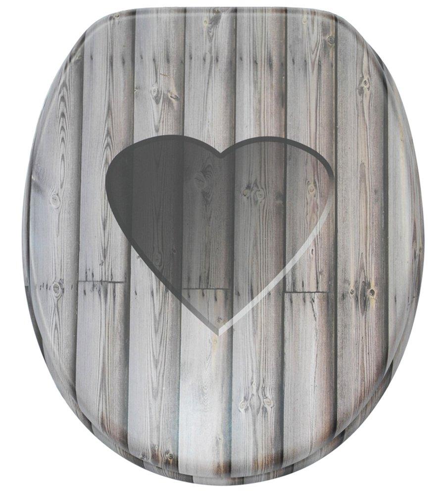Sanilo WC Sitz mit Absenkautomatik Woodn Heart   hochwertige Oberfläche   einfache Montage   stabile Scharniere   A914086 B00BHJND8E WC-Sitze