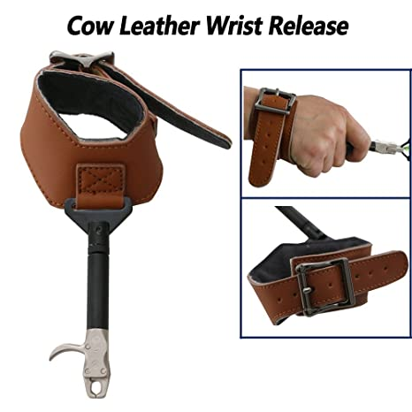 Compound Bow Release Aids Buckle Leather Adjust Wrist Straps Archery Hunting