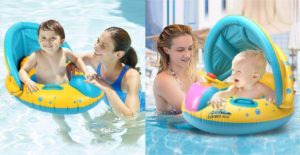 Vercrown Inflatable Baby Pool Float Swimming Ring Baby Seat Boat Yacht with Sunshade and Air Pump Safty for Age 6-36 Months Toddler Children Yellow Blue
