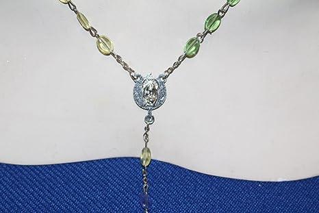 Unbekannt Original Vintage 1950s 50 Rosario Rosary Colorido Diseño Italia