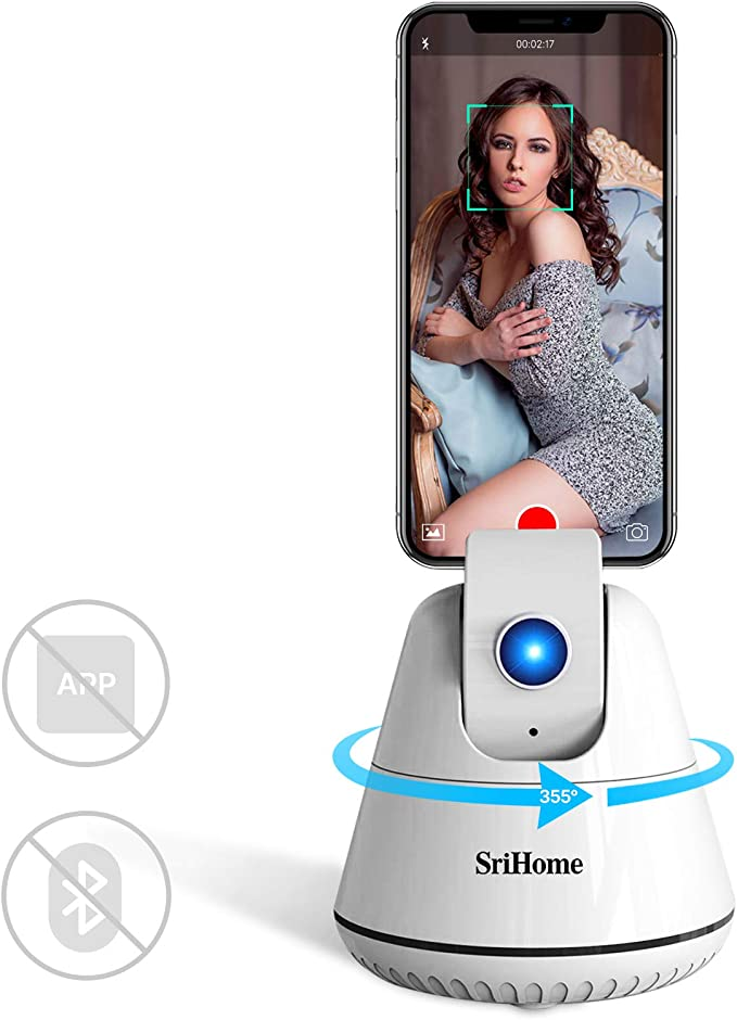 360/° Rotation Auto Tracking Shooting Phone Holder Tripod Mount Compatible with Android and iOS J41S Smart Selfie Stick
