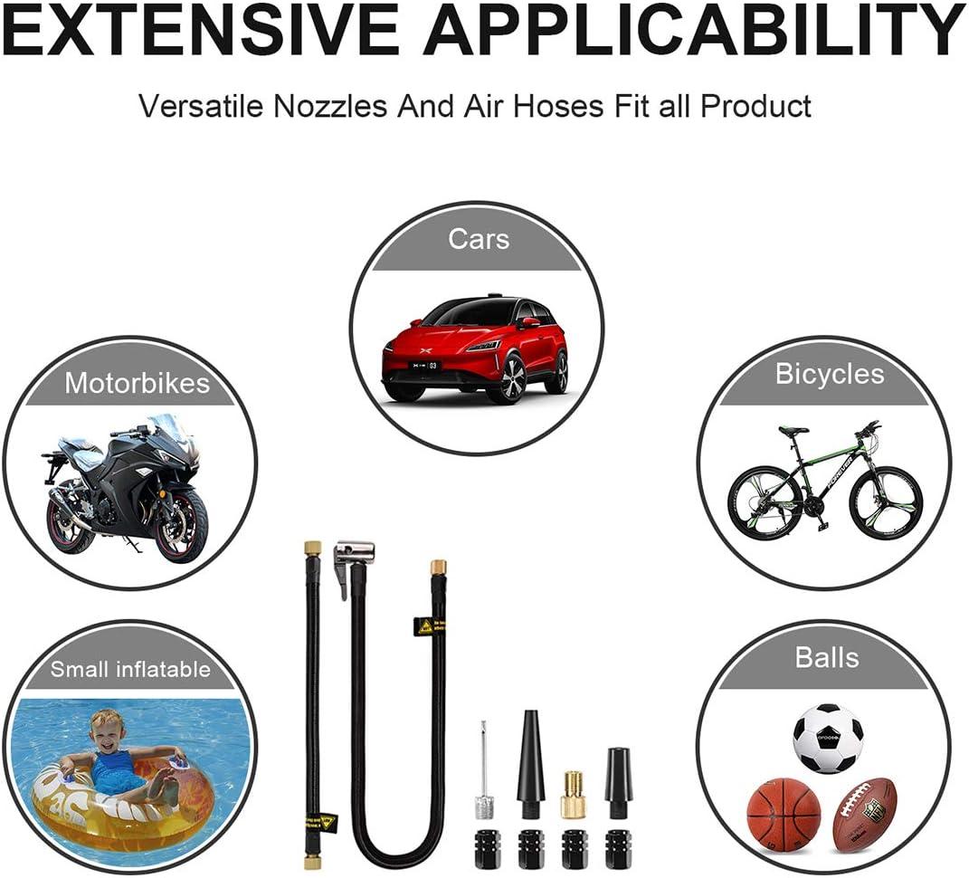 Reesibi Tragbare AutoLuftpumpe Elektrischer Akku-Reifenf/üller Handpumpe mit Autoladeger/ät LED-Licht 120PSI 12V 2000mAh Batterie f/ür Auto Bike Basketball Motorrad