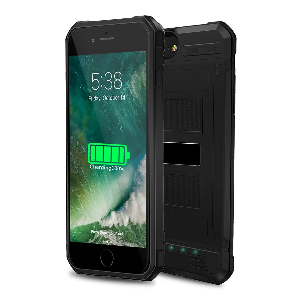 3000mAh Battery Case, Dust-proof Shockproof Charger Case for iPhone6/6s/7/8,for Riding/Climbing/Hiking (Black for iPhone6/6s/7/8)