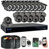 GW Security 16 Channel HD 2592TVL Outdoor / Indoor 5MP 1920P CCTV Video Security Camera System with Pre-Installed 4TB HD, Motion Email Alert, Smartphone& PC Easy Remote Access (Black)