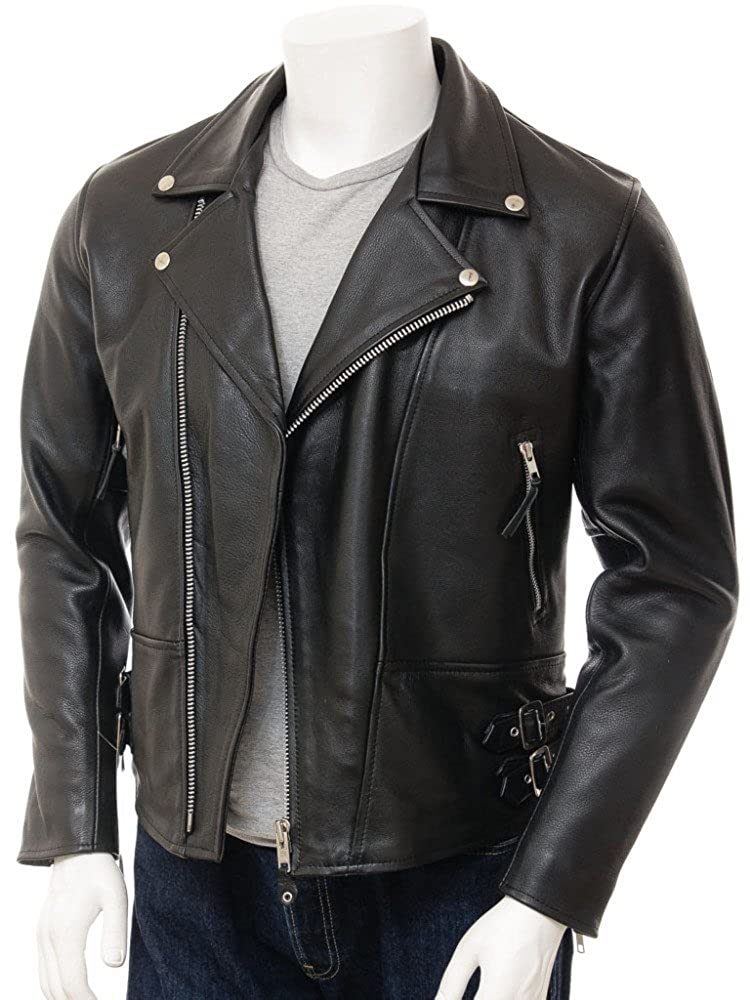 25 crafat Men Leather Jacket Black Slim Fit Biker Motorcycle Lamskin Jacket