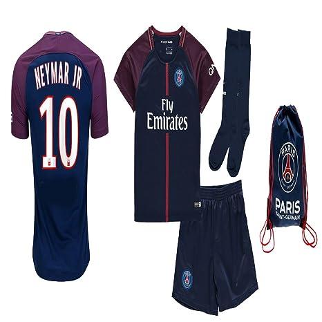 wholesale dealer 5a2c8 91a7d Kid/Youth Paris Saint Germain PSG 2017 2018 17 18 Replica Home, Away Jersey  Neymar Jr, Cavani & Di Maria Kit: Jersey, Short, Socks + Soccer Bag
