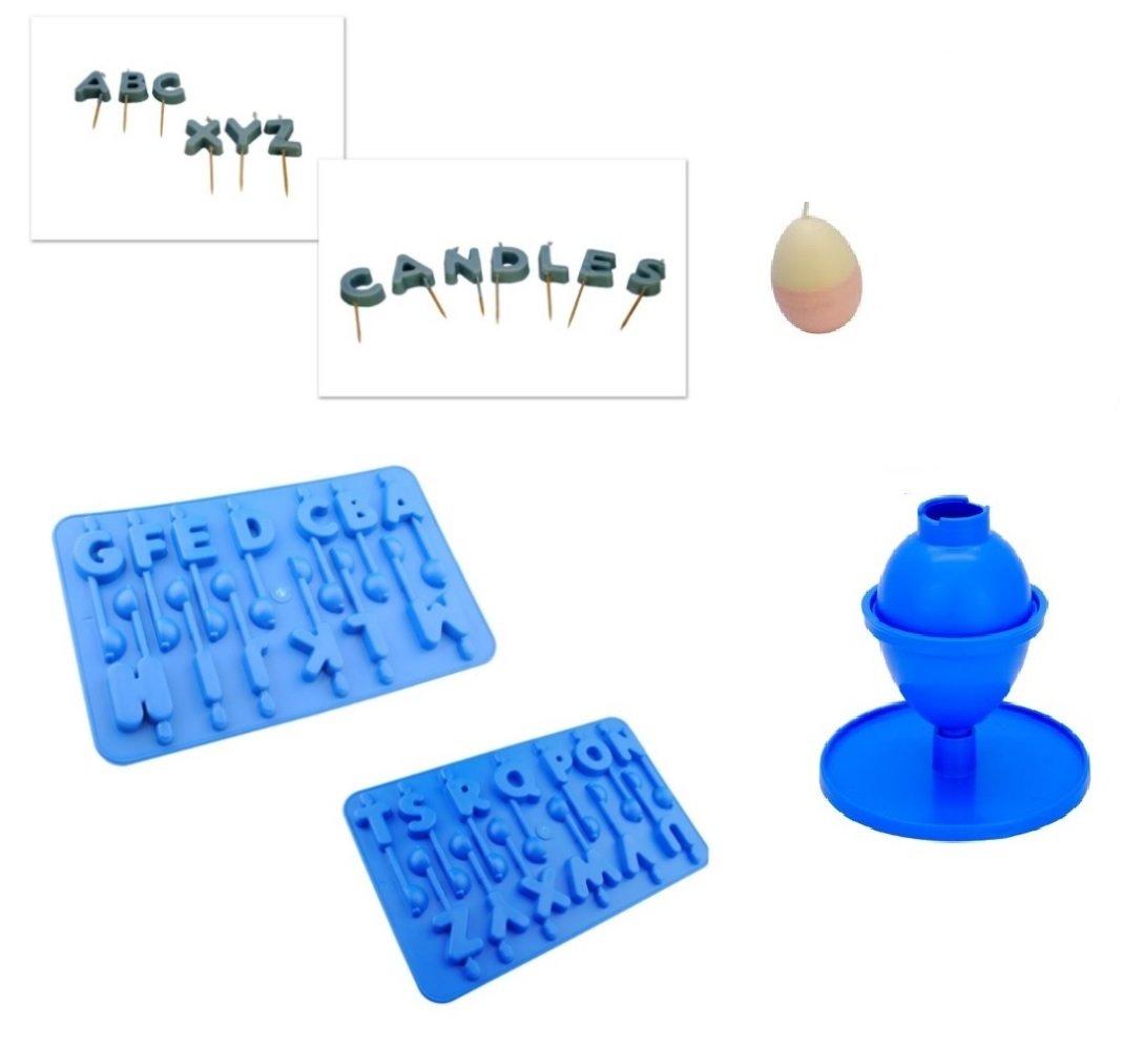 Proops - Juego de 3 bandejas de molde de moldes para velas, A-Z alfabeto letras y molde de huevo/oval con forma de vela para tarta de cumpleaños (S7702).