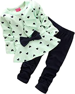 Amison Nuovo Bambino Set A forma di cuore Stampa Bow Carina 2pcs Kids Set T-shirt + pantaloni (90, Giallo)
