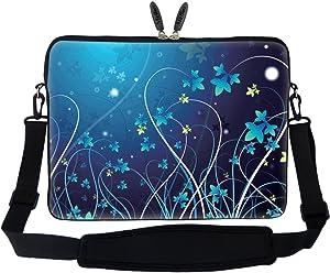 Neoprene Laptop Sleeve Bag with Hidden Handle & Adjustable Shoulder Strap for 17 17.3 inch Notebook - Blue Swirl Flower Design