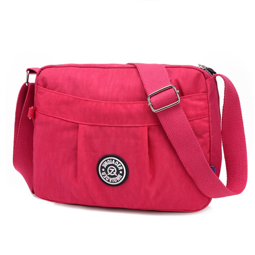 TianHengYi Small Water Resistant Women's Cross-body Shoulder Bag Lightweight Nylon Fabric Messenger Bag Rose