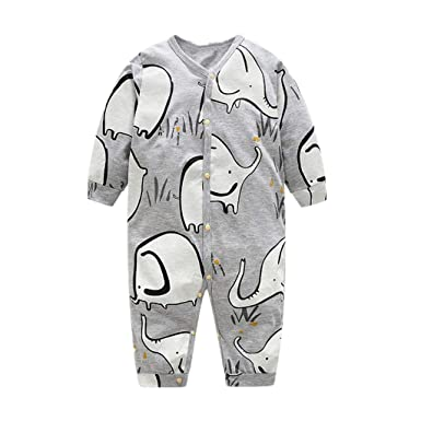 78d988ac5 SHOBDW Boys Rompers, Infant Baby Basic Long Sleeve Buttons Cartoon Elephant  Jumpsuit Newborn Toddler Summer Pajamas Clothes: Amazon.co.uk: Clothing