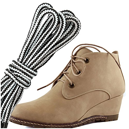 DailyShoes Womens Fashion Lace Up Round Toe Ankle High Oxford Wedge Bootie, White Beige Pu