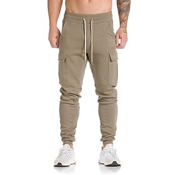 Moonuy Personalidad Pantalones de chándal occasionnels Bolsillo ...