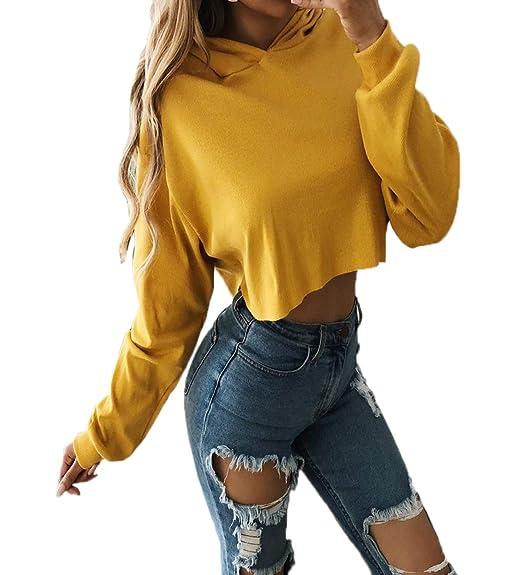 Primavera Otoño Mujeres Corto Sudaderas con Capucha Casual Manga Larga Sweatshirt Blusa Jerseys Joven Moda Colores Lisos Pulóver Hoodie Tops Jumpers: ...