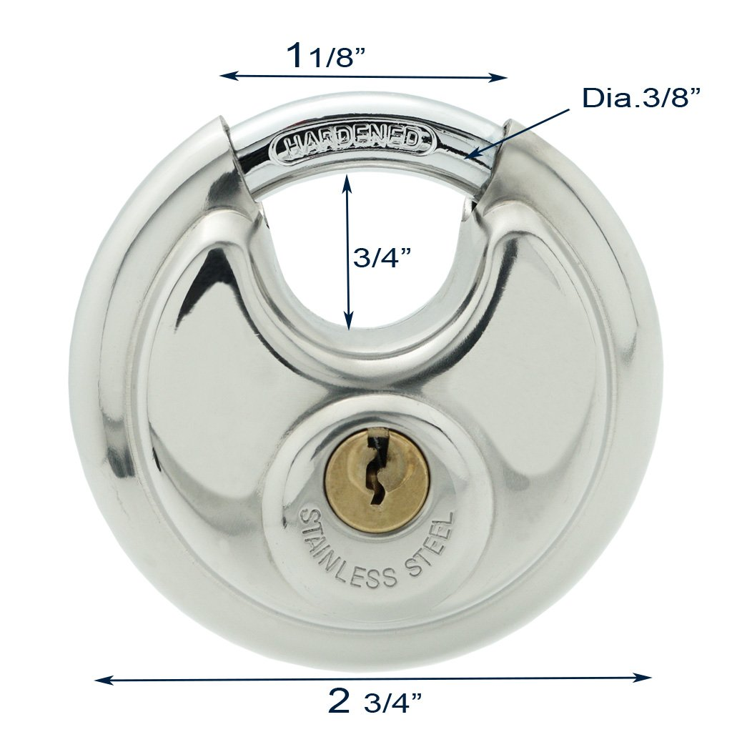 10 Stainless Steel Disc Padlock 2-3/4'', KEYED Differ, 8010x10 by [BLANKNYC] (Image #2)