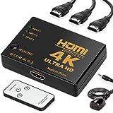 HDMI セレクター 分配器 3入力1出力 hdmi 切替器 MIDOWIN 4Kx2K 3D映像 自動手動切り替え USB給電ケーブル リモコン付き スプリッター HDTV、Blu-Ray、DVD、PS4、Nintendo Switch ゲーム機など対応 Ver 2.0【日本語説明書と安心の2年間保証】