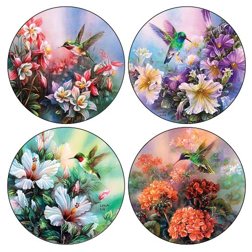 Hummingbird Coaster - CoasterStone AS520 Absorbent Coasters, 4-1/4-Inch, Hummingbirds in Floral, Set of 4