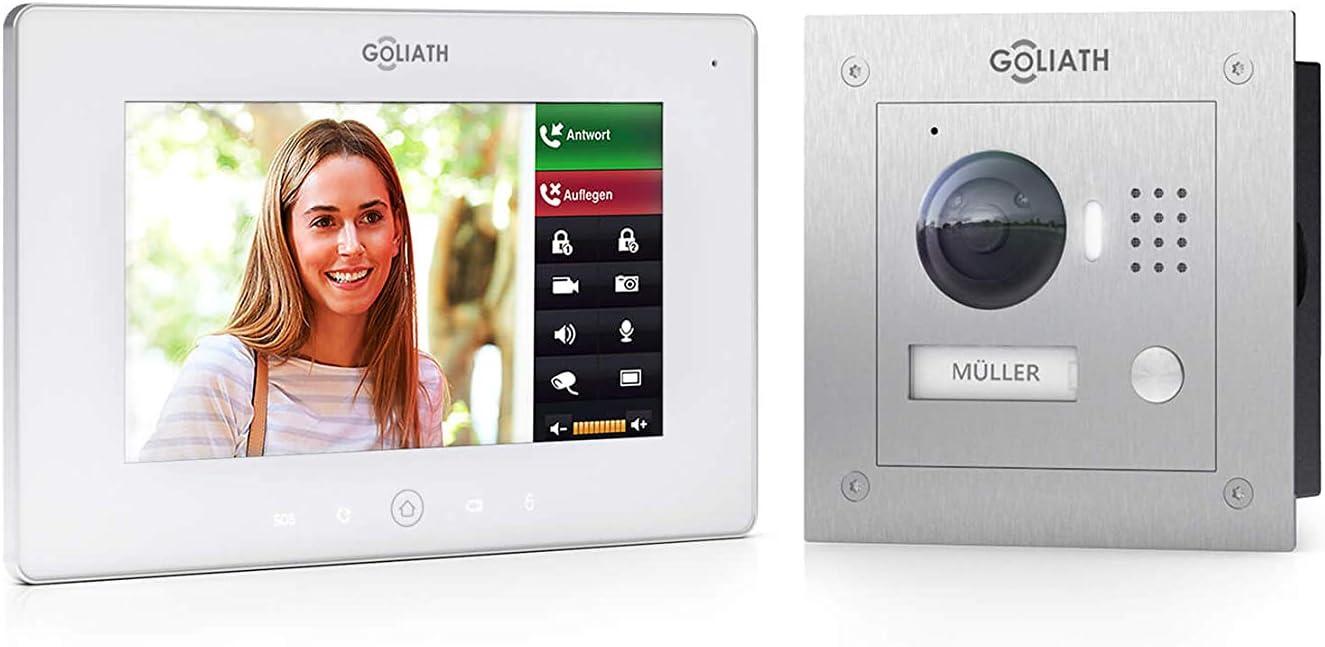 WiFi Edelstahl App mit T/ür/öffner Funktion Aufputz HD T/ürstation 7 Zoll Full Touchscreen 1 Familienhaus Goliath IP Video T/ürsprechanlage